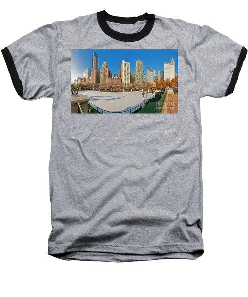 Mccormick Tribune Plaza Ice Rink And Skyline   Baseball T-Shirt