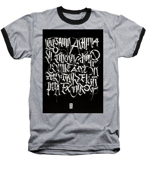 Melody Of Letters. Calligraphic Abstract Baseball T-Shirt