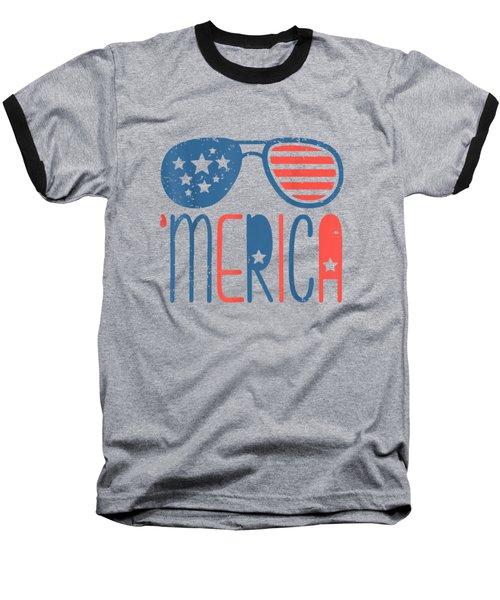 Merica American Flag Aviators Toddler Tshirt 4th July White Baseball T-Shirt