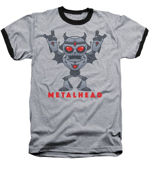 Metalhead - Heavy Metal Robot Devil - With Text Baseball T-Shirt