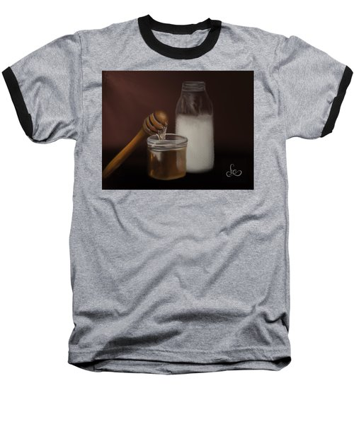 Baseball T-Shirt featuring the painting Milk And Honey  by Fe Jones