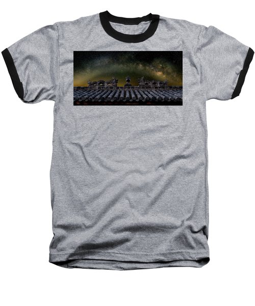 Milky Way Arch Over Chinese Temple Roof Baseball T-Shirt