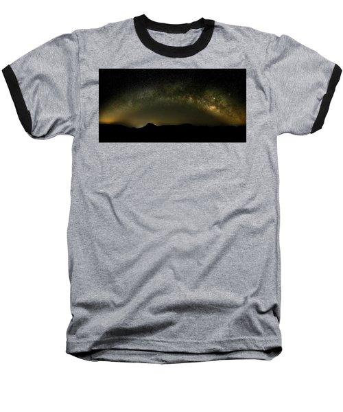 Milky Way Arch Panorama Over Tianping Mountain And Ridge-line Baseball T-Shirt