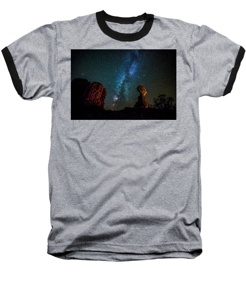 Baseball T-Shirt featuring the photograph Milky Way Over Balanced Rock by David Morefield