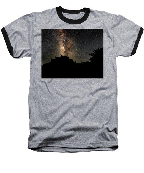 Milky Way Over The Dark Temple Baseball T-Shirt