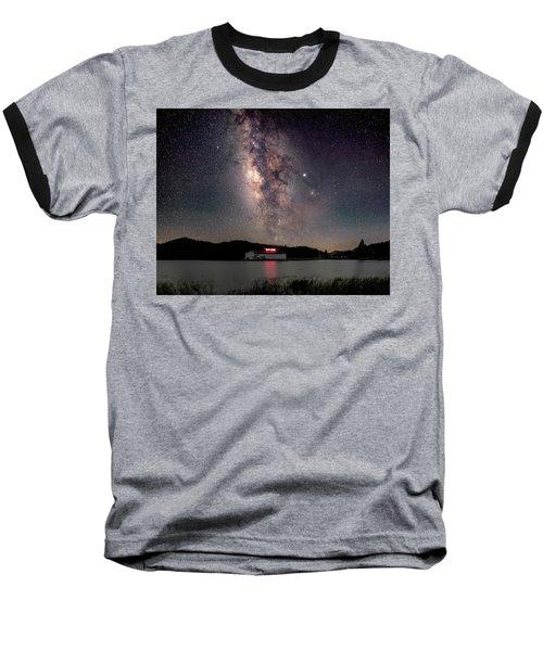 Milky Way Over The Tianping Mountain Lake Temple Baseball T-Shirt