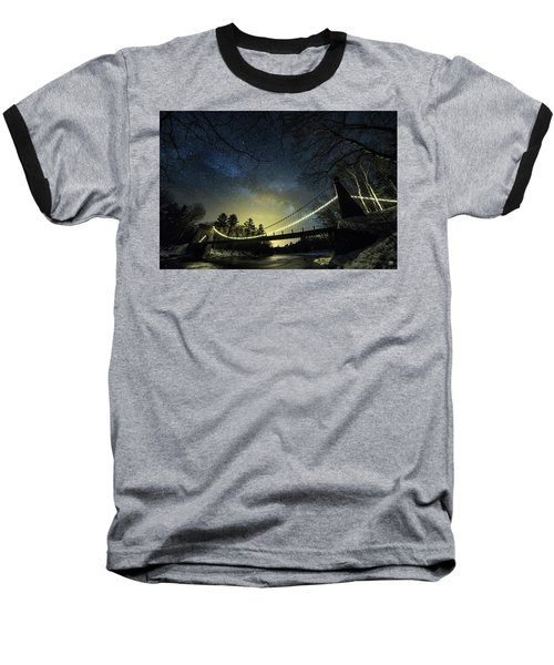 Milky Way Over The Wire Bridge Baseball T-Shirt