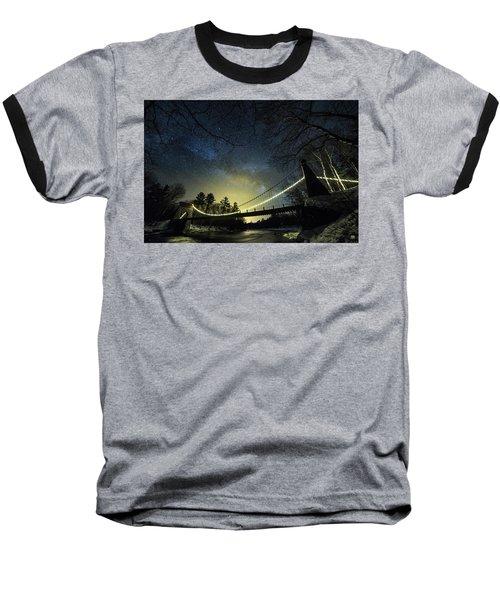 Milky Way Over The Wire Bridge Baseball T-Shirt