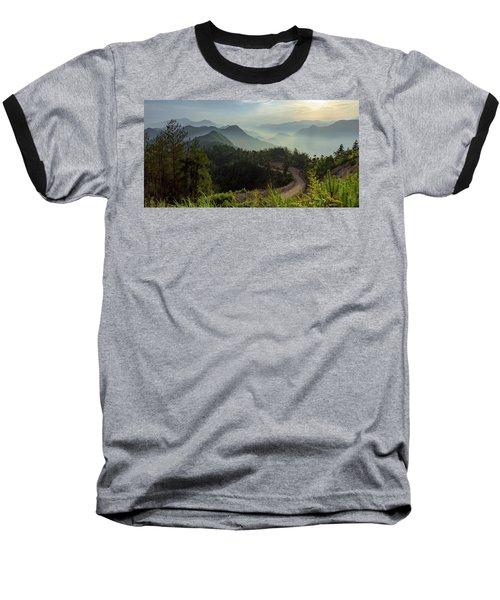 Misty Mountain Morning Baseball T-Shirt