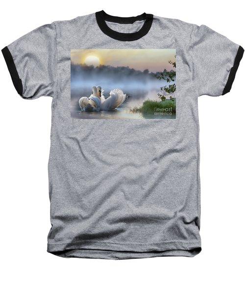 Misty Swan Lake Baseball T-Shirt