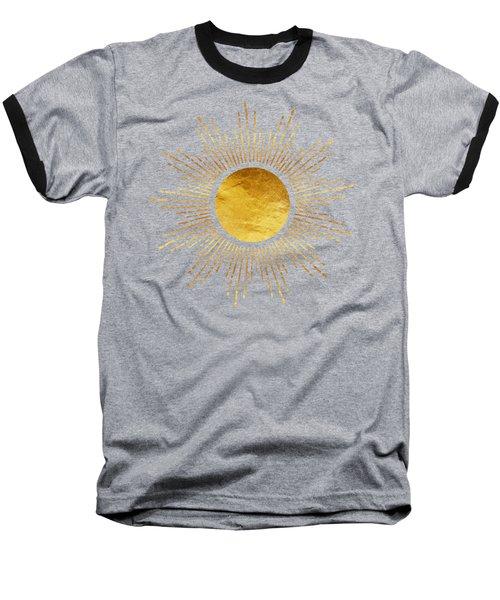 Modern Golden Sunburst Starburst Noir Baseball T-Shirt