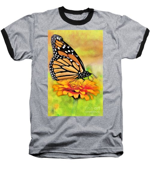 Monarch Butterfly On Flower Baseball T-Shirt