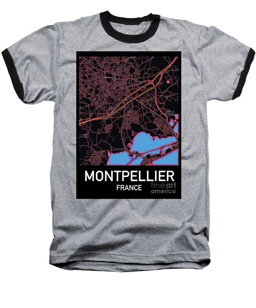 Montpellier City Map Baseball T-Shirt