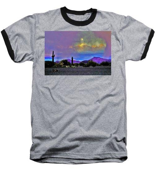 Moon At Sunset In The Desert Baseball T-Shirt