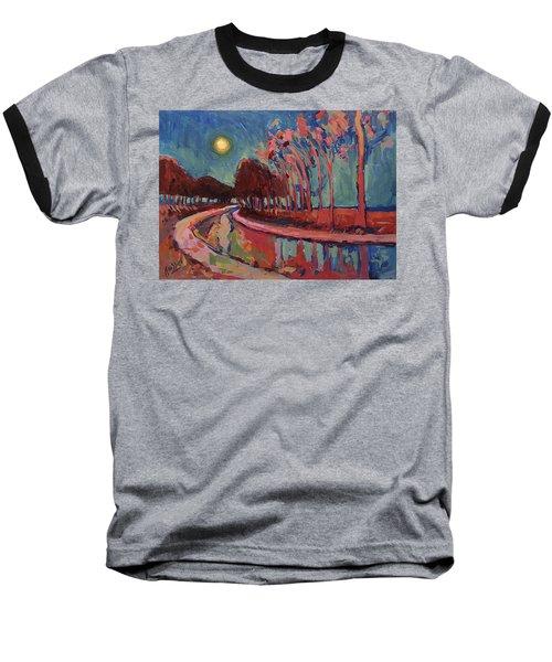 Moon Night At The Canal Baseball T-Shirt