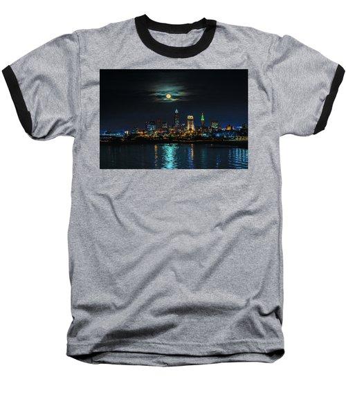 Moon Over Cleveland  Baseball T-Shirt