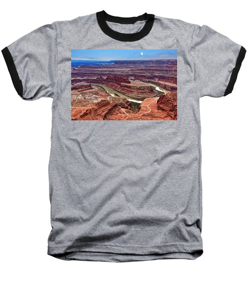 Baseball T-Shirt featuring the photograph Moon Over Deadhorse Point by Andy Crawford