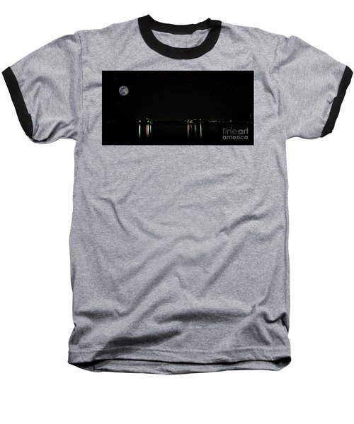 Moonlit Medina Lake San Antonio Tx 8364a Baseball T-Shirt