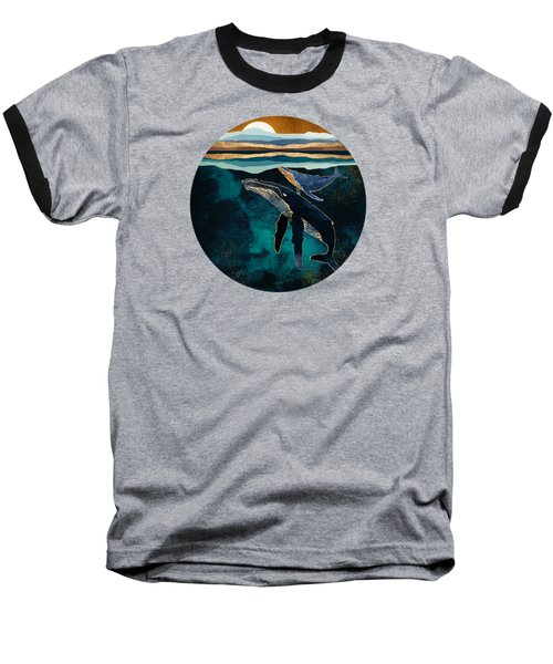 Moonlit Whales Baseball T-Shirt