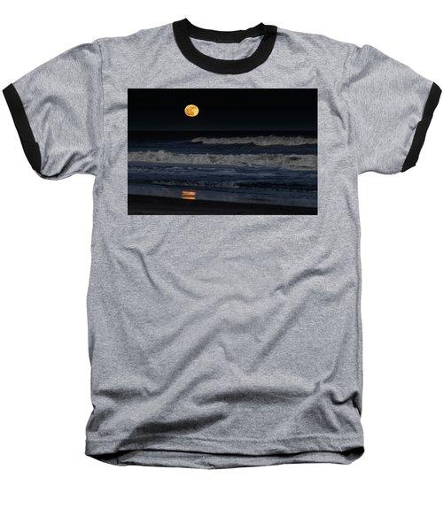 Moonrise Over Assateague Island Beach Baseball T-Shirt
