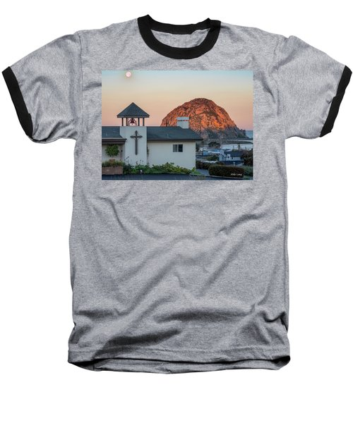 Moonset Above Morro Rock Baseball T-Shirt