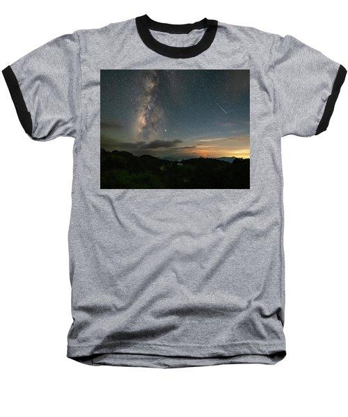 Moonset Milky Way And Shooting Star Baseball T-Shirt