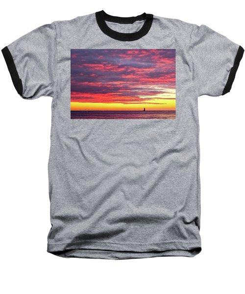 Morning Fire Over Whaleback Light Baseball T-Shirt