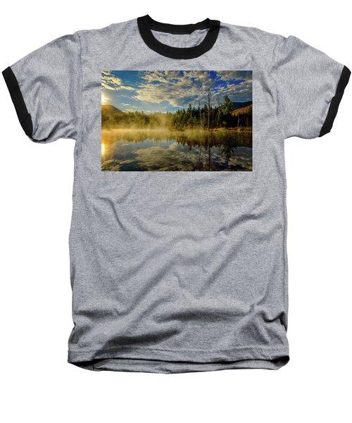 Morning Mist, Wildlife Pond  Baseball T-Shirt