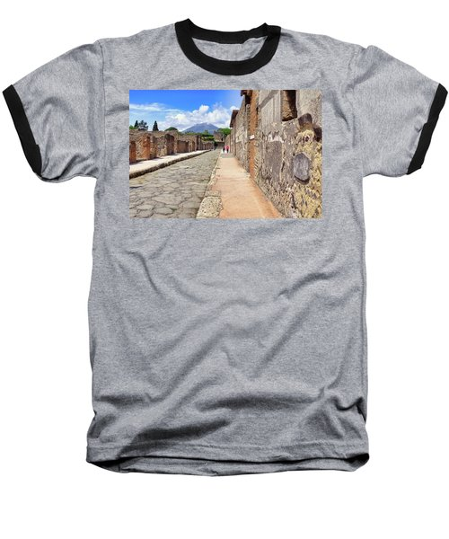 Mount Vesuvius And The Ruins Of Pompeii Italy Baseball T-Shirt