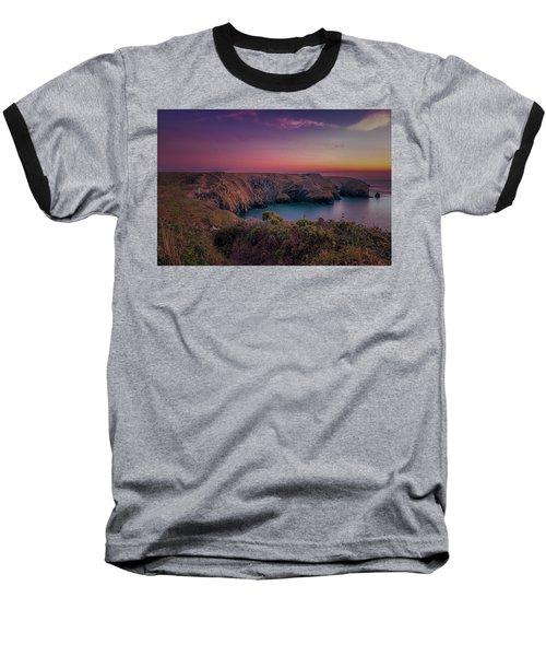 Mullion Cove Cornwall Sunset Baseball T-Shirt