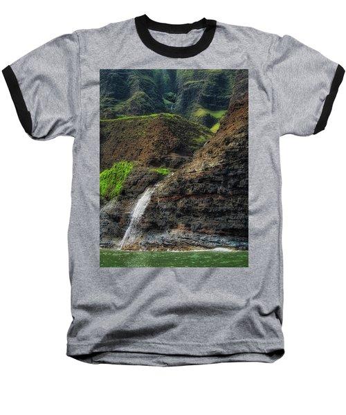 Na Pali Coast Waterfall Baseball T-Shirt