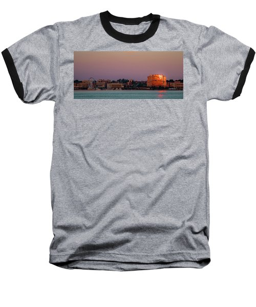 Baseball T-Shirt featuring the photograph National Harbor Reflecting The Sunset by Lora J Wilson