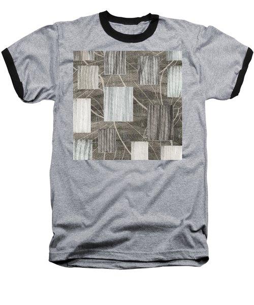 Neutral Leaf Print Squares Cream Baseball T-Shirt