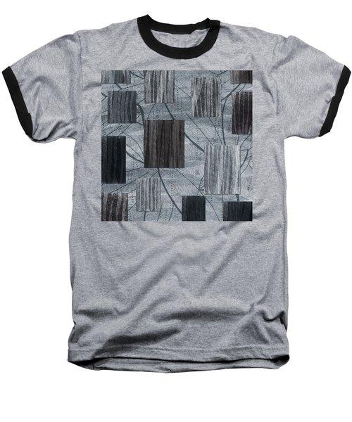 Neutral Toned Leaf Square Print Baseball T-Shirt