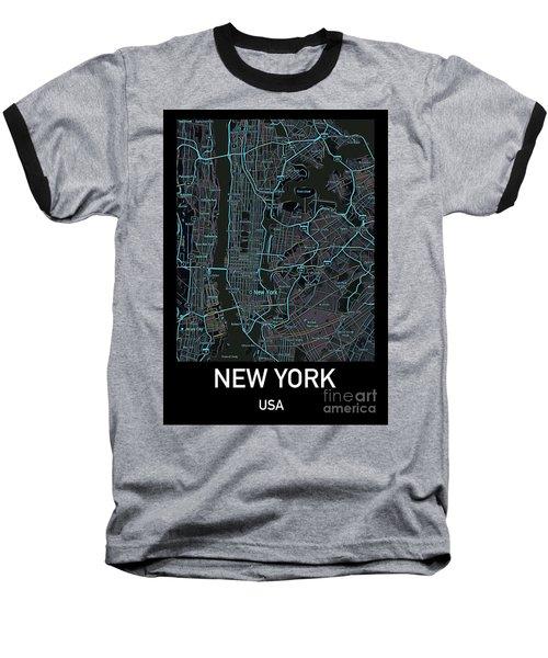 New York City Map Black Edition Baseball T-Shirt