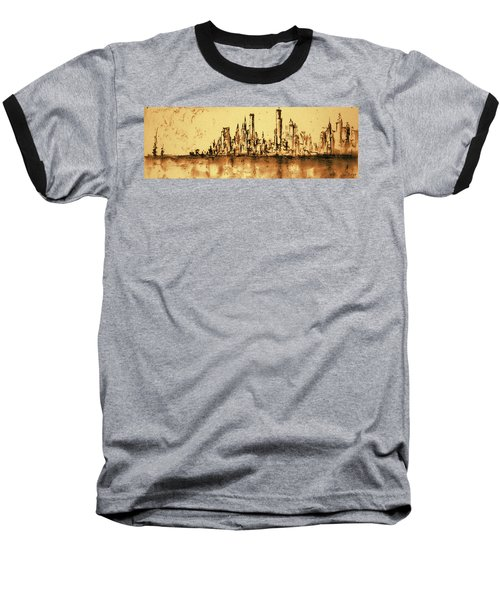 New York City Skyline 79 - Water Color Drawing Baseball T-Shirt