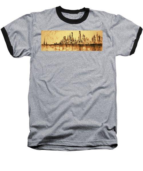 New York City Skyline 79 - Water Color Drawing Baseball T-Shirt