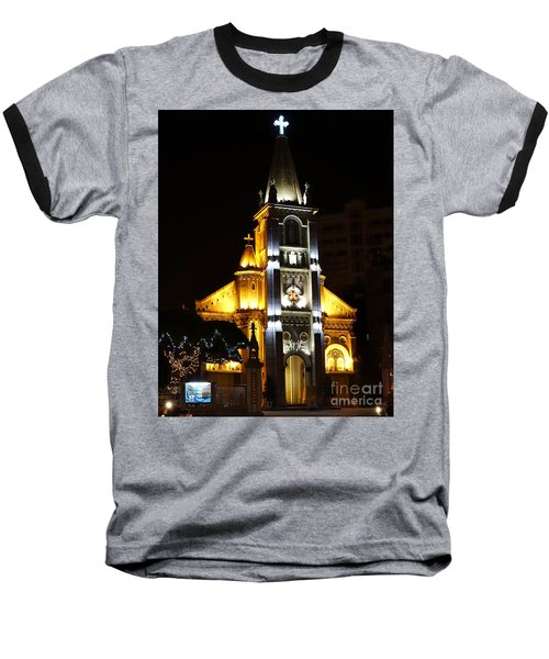 Night View Of The Holy Rosary Cathedral Baseball T-Shirt