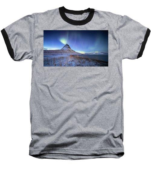 Northern Lights Atop Kirkjufell Iceland Baseball T-Shirt