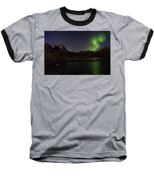 Northern Lights Aurora Borealis In Norway Baseball T-Shirt