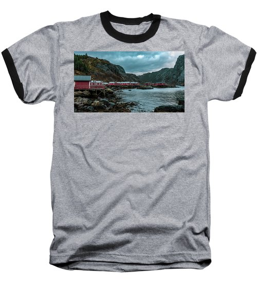 Norway Panoramic View Of Lofoten Islands In Norway With Sunset Scenic Baseball T-Shirt