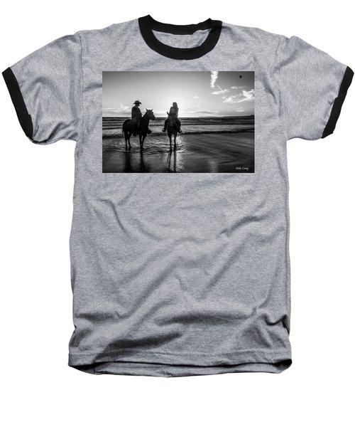 Ocean Sunset On Horseback Baseball T-Shirt