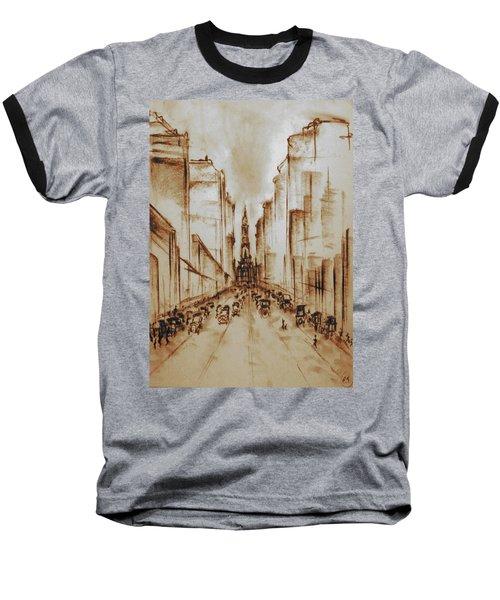 Old Philadelphia City Hall 1920 - Pencil Drawing Baseball T-Shirt