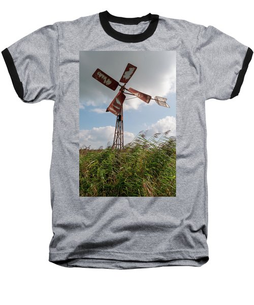 Baseball T-Shirt featuring the photograph Old Rusty Windmill. by Anjo Ten Kate