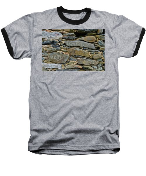 Old Schist Wall With Several Dates From 19th Century. Portugal Baseball T-Shirt