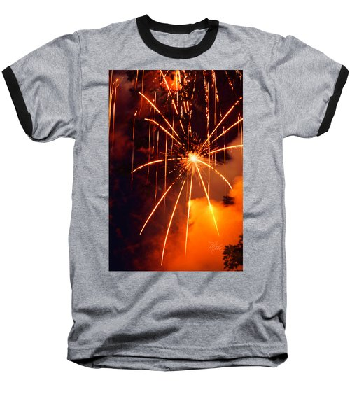 Orange Fireworks Baseball T-Shirt
