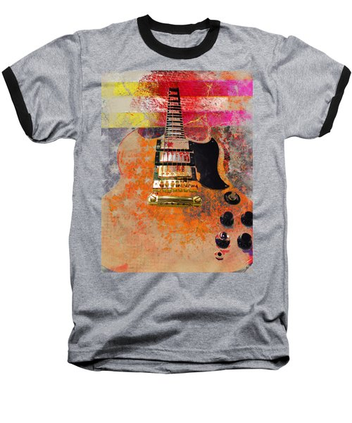 Baseball T-Shirt featuring the digital art Orange Electric Guitar And American Flag by Guitar Wacky