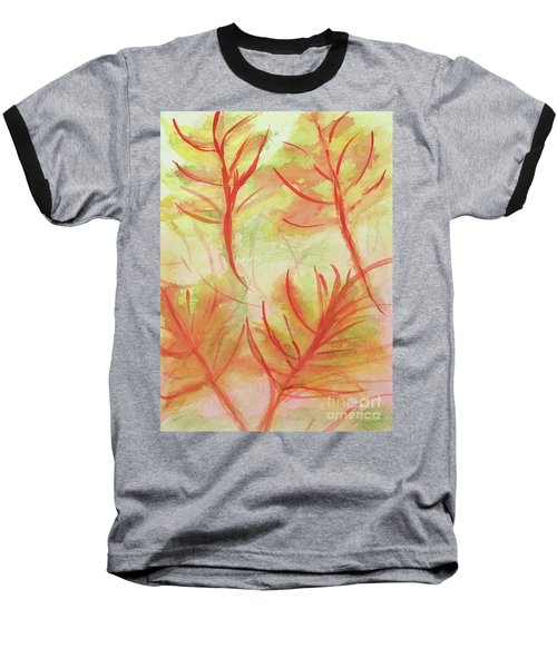 Orange Fanciful Leaves Baseball T-Shirt