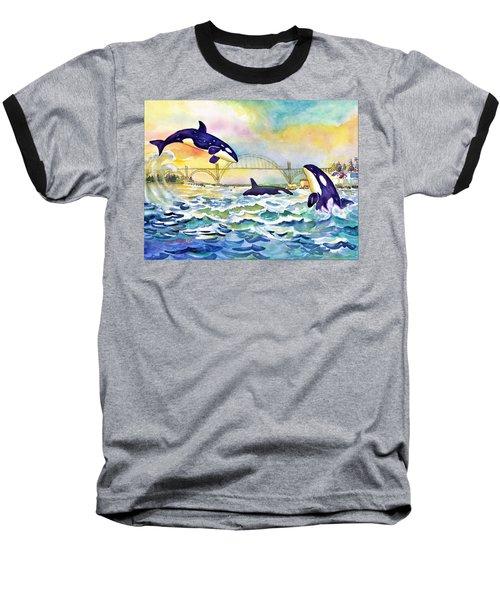 Orcas In Yaquina Bay Baseball T-Shirt