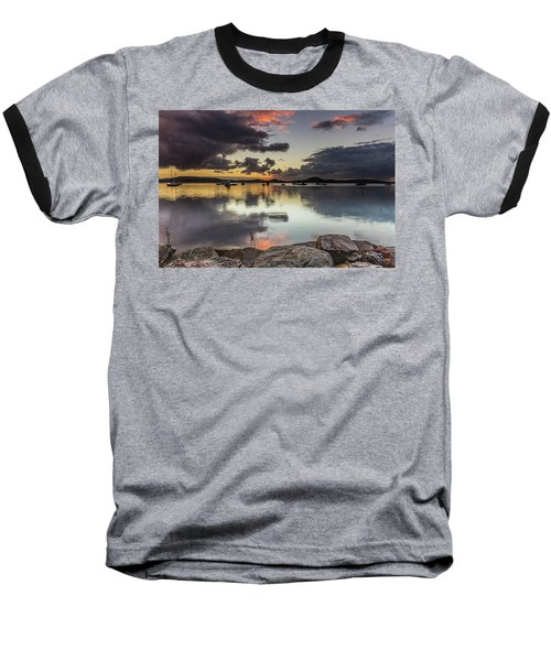 Overcast Waterscape With Hints Of Colour Baseball T-Shirt